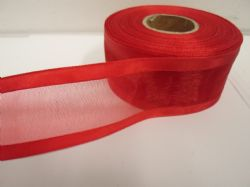 Dark Red satin edged organza ribbon, 2 or 25 metres, Double sided, 10mm, 15mm, 25mm, 40mm, 70mm
